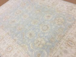 8'.1 X 10'.4 Muted Blue Beige Oushak Oriental Area Rug Hand Knotted Wool