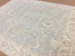 8and039 X 10and039 Muted Light Blue Beige Ziegler Oriental Area Rug Hand Knotted All Over