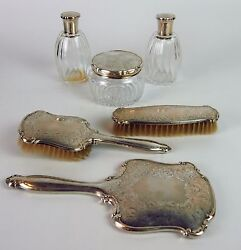 Splendid Womenand039s Toilet Set. Punched Silver. Cutted Glass. France Circa 1950