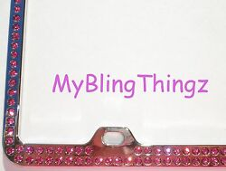 Embedded Pink Crystal Bling Rhinestone License Plate Frame W/ Elements