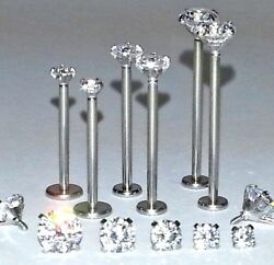 16g 9/16 5/8 Or 3/4 Prong Cz Gems Cheek Dimple Labret Piercing Jewelry Studs