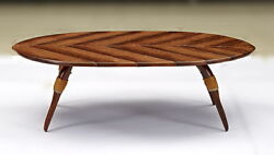 52 W Brown Oval Coffee Table Waxed Exotic Wood Leather Bindings Unique Design