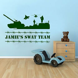 Army Swat Team Wall Sticker Personalised Boys Bedroom Vinyl Childrenand039s Wall Art