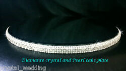Ivory Pearl And Real Glass Crystal Diamante Rhinestone Cake Stand Platform Plate