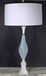 Vintage Murano White Winged Opaline / Marble Table Lamp Light