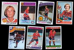 Lot Of 7 Vintage Guy Lafleur Autographed 1970and039s Topps Hockey Cards