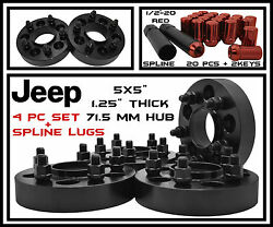 4 Pc Black Jeep 1.25quot; Thick 71.5 HubCentric Wheel Spacers Red Spline Lug Nuts