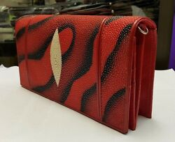 Genuine Stingray Wallets Skin Leather Women's Shoulder Bags Sling Cross Body Red