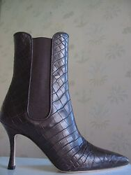 5950 New Manolo Blahnik Toialo Brown Alligator Crocodile Ankle Boots Shoes 35.5