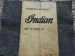 Vintage Indian Me74 And Me76 Motorcycle Owners Manual