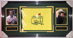 Psa/dna Masters Arnold Palmer Phil Mickelson Signed Autographed Undated Flag