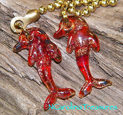Dolphin Glitter Glass Dolphins Red Murano Ceiling Fan Light Switch Pulls Sm Pr