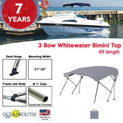 3 Bow Bimini Top Boat Cover 51 - 59 Width 4ft Long Grey With Support Poles