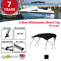 3 Bow Bimini Top Boat Cover 59 - 67 Width 4ft Long Black With Support Poles