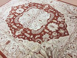 8 X 9.7 Red Beige Sarape Oriental Area Rug Hand Knotted Medallion Wool