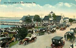 City Hall & South Bridge Early Autos Daytona FL 1914