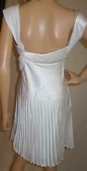 LA FEMME Pleated Cocktail DRESS Evening white sz 6 New $39.50