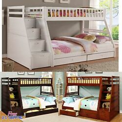 Wood Bunk Bed Twin Full Solid Loft Wooden Bunkbed Kids Teens Beds Furniture New