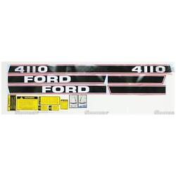 Complete Decal Set/kit For Ford 4110 Tractor Black/red Stripe Force Ii '86-up