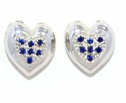 Always And Forever Blue Sapphire Heart Shape Stud Earrings .925 Sterling Silver
