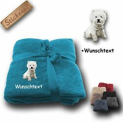 Cuddly Blanket Blanket West Highland White Terrier + Custom Text Embroidery