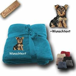 Fleecy Cuddle Blanket Yorkshire Terrier 01+ Name Embroidery 70 78x51 316in