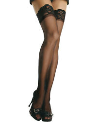Morris Costumes Women's Stay Sheer Nylon Thigh High Black Queen Size. UA1022BKPL