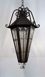 1890s Xl Italian Gothic Revival Caged Crackle Glass Pendant Chandelier Light