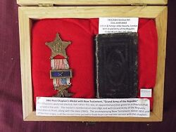 1855 German Nt With 1861 Post Chaplain's Medal - Civil War Bible- Grand Army