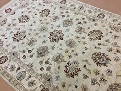 6.6 X 9.9 Beige Ziegler Oriental Area Rug Hand Knotted Floral All Over