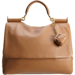 Dolce And Gabbana Miss Sicily Large Camel Brown Deerskin Leather Purse W/ Dust Bag