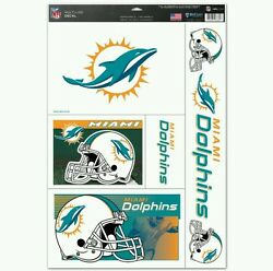 Miami Dolphins 5 Piece Multi-use Decals 11x17 Sheet Perfect For Windows