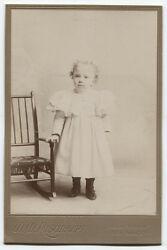 Cabinet Card Girl Standing At Child Size Chair. Mount Vernon, N.y.