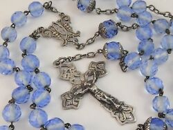 Gorgeous Antique French Huge Sterling Silver Rosary Blue Crystal Beads