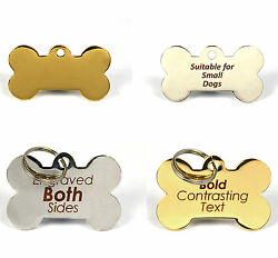 Laser Engraved Bone Pet Id Dog Tags Bold Text Both Sides Personalised 2 Sizes