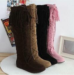 Womens Tassel Moccasin Knee High Boots Pull On Flat Heel Roman Faux Suede Shoes