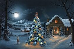 Jesse Barnes The Spirit Of Christmas 24x36 Le Unstretched Canvas New Mint W/coa