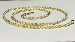 14k Solid Yellow Gold Rope Pendant Link Chain/necklace 20 4mm 27 Grams Sr030