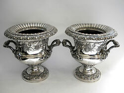 Antique Georgian Old Sheffield Silver Plate Wine Coolers / Vases C. 1820