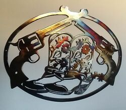 Cowboy Boots and Pistols Western Wall Decor Metal Art 23.5quot;