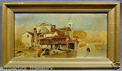 Antique 20th Century European Italian School Oil Painting Of House On Canal