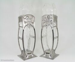 Divine Wmf Art Nouveau Glass Young Maidens And Blossoms Pair Of Vases