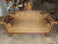 Antique Sofa With Decorative Pillows Reupholstered Made In Usa