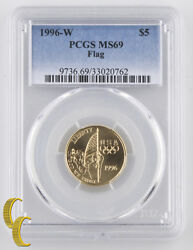 1996-w 5 Flag Graded By Pcgs As Ms-69 Great, Rare Brilliant Uncirculated Comm