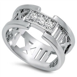Menand039s Womenand039s Roman Number Clear Cz Ring New 925 Sterling Silver Band Sizes 5-11