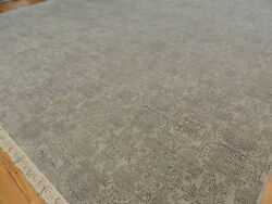 8x10 Gray Modern Ikat Oriental Area Rug Neutral Gray Solid Color Wool