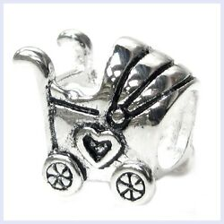 Sterling Silver Heart Baby Carriage Family Love Bead F/ European Charm Bracelet