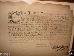Rare Signed Indenture Dated December 13 1742 For Powder And Musket Flints