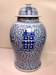 Authentic Antique Chinese Double Luck Qing Dynasty Blue Temple Pottery Happiness