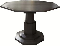 45 Round Dining Table Octagon Solid Mahogany Wood Pale Black Modern Finish